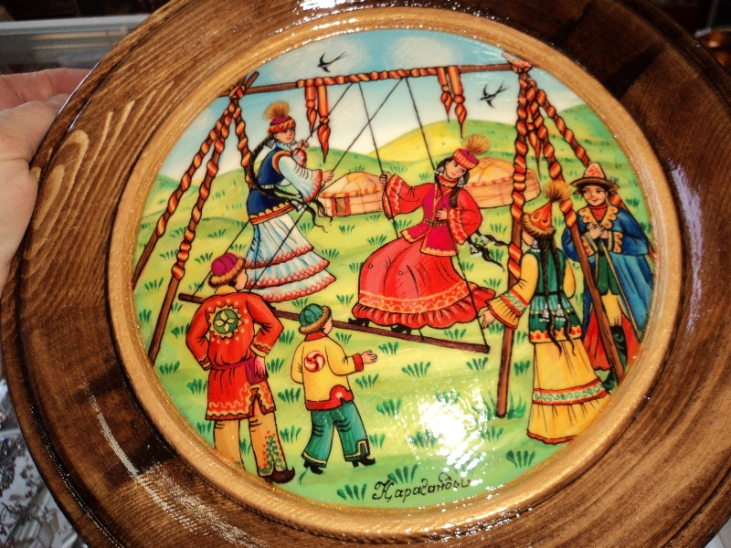 Painted Wood Plate